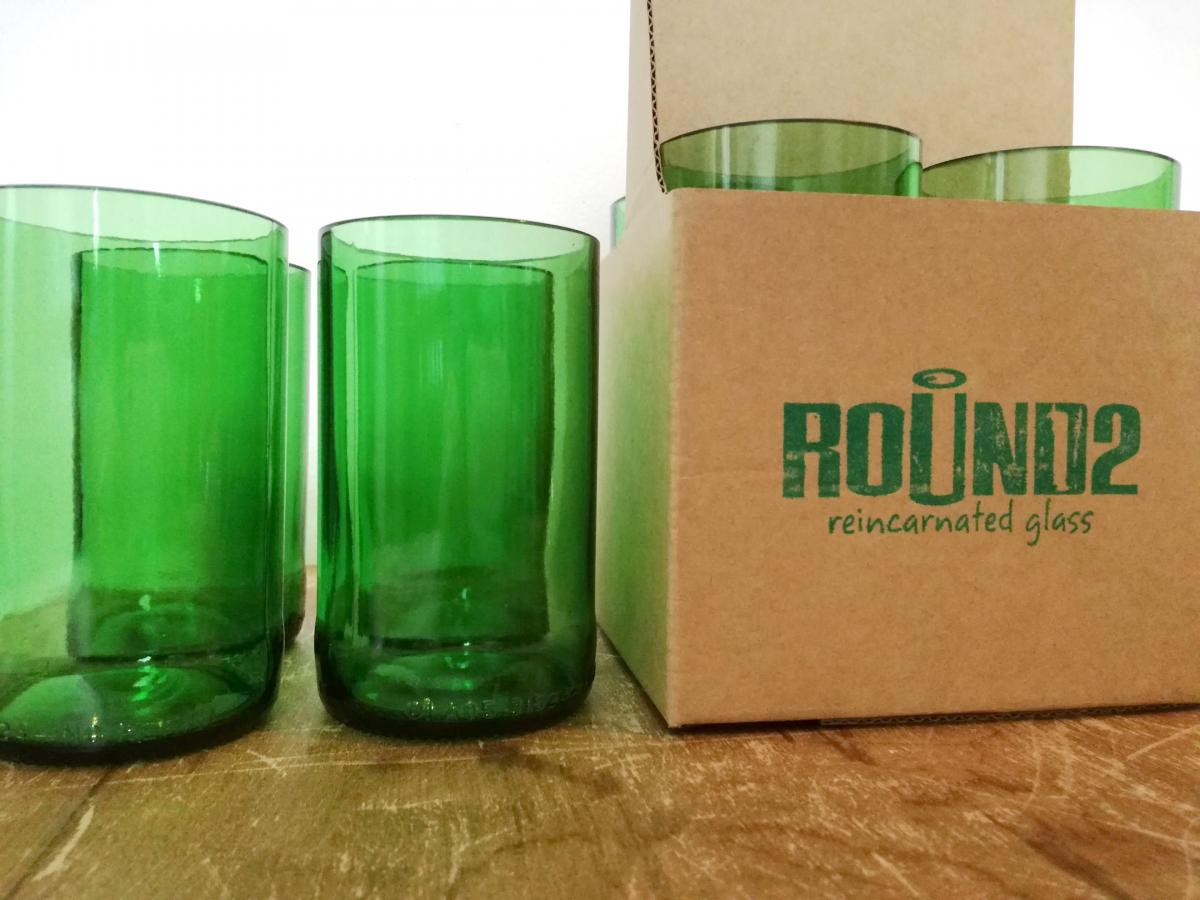 green beer glasses with packaging
